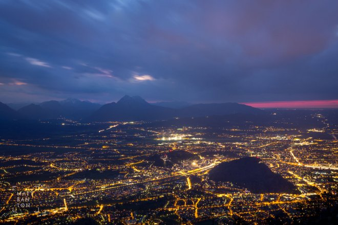 Cityscape photography of Salzburg at twilight