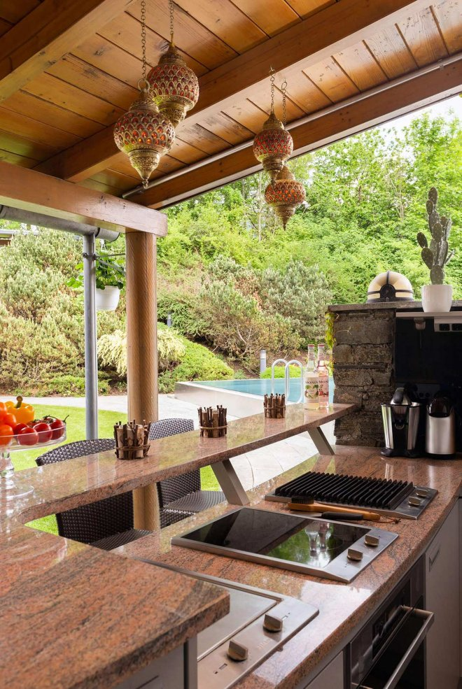 architectural photography of outdoor kitchen