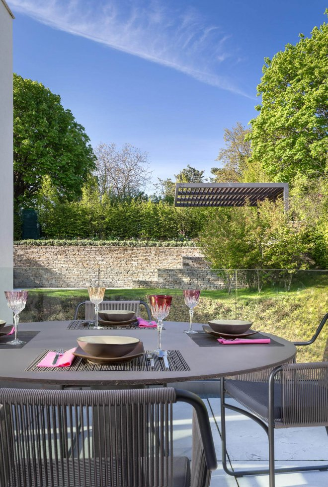 Interior design photo of staging outdoor dining area
