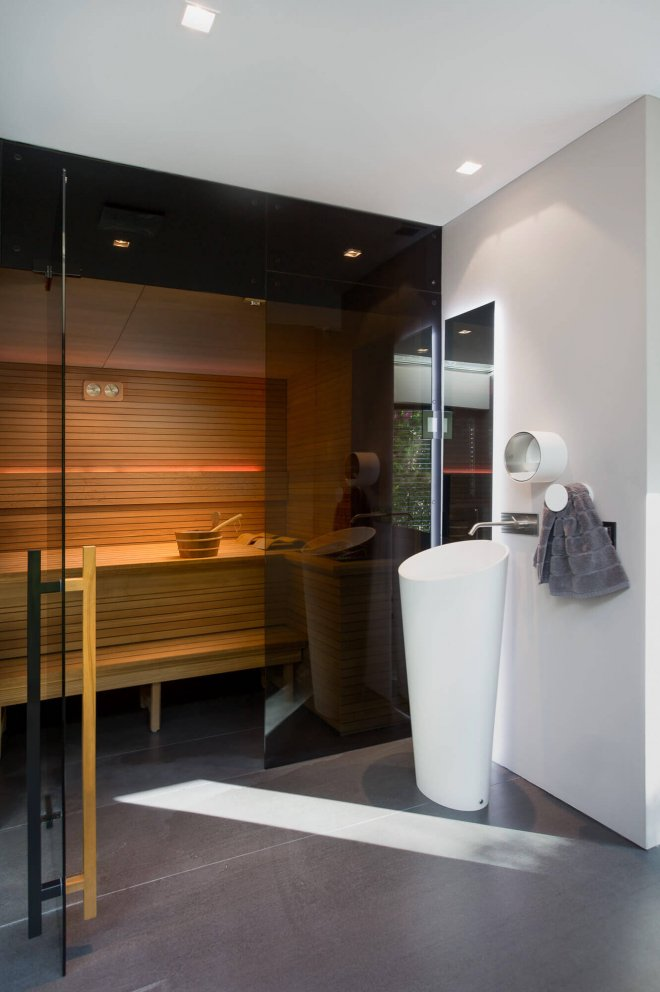 Interior photo of luxury sauna