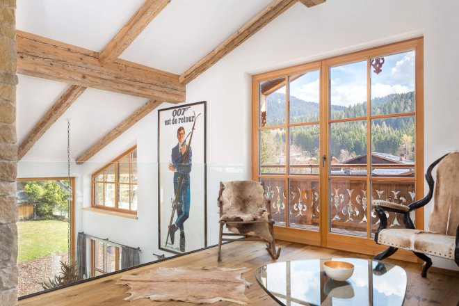 interior photo of designer ski chalet
