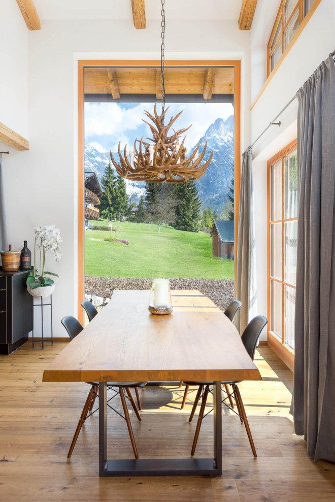 interior design photography of alpine chalet dining area
